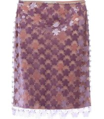 paco rabanne floral paillettes skirt