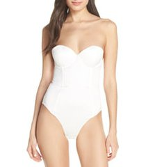 women's homebodii brooklyn satin bodysuit, size x-large - white