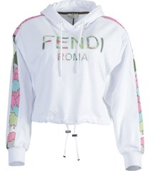 white cropped floral logo hoodie