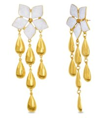 catherine malandrino flower post dangle earring in yellow gold-tone alloy