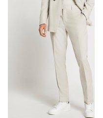 river island mens beige textured slim fit suit pants