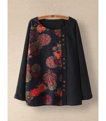 camicetta a maniche lunghe con bottoni patchwork stampati floreali per donna