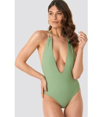 na-kd swimwear halterneck plunge swimsuit - green
