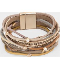 roselyn leather wrap bracelet - brown