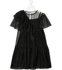 andorine glitter tulle tiered dress - black