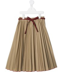 familiar belted pleated skirt - brown