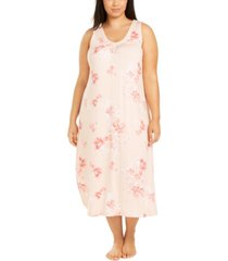 charter club plus size sleeveless floral-print nightgown, created for macy's