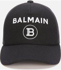 balmain men's wool flocked cap - noir