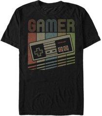 nintendo men's nes rainbow retro controller short sleeve t-shirt