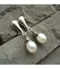 perły white - klipsy