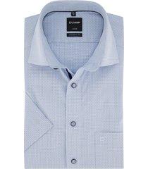 korte mouwen shirt lichtblauw geruit olymp luxor