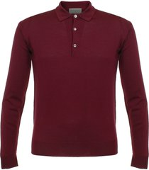 john smedley tyburn red wool polo shirt o52