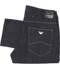 emporio armani dark blue tobacco stitch j06 slim-fit jeans 3z1j06-1drwz