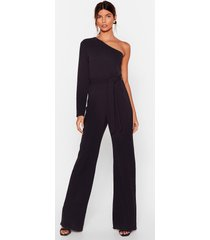 womens my plus one shoulder belted jumpsuit - black