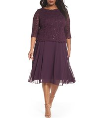 plus size women's alex evenings mock two-piece midi dress