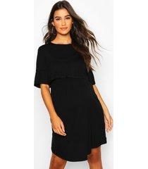 zwangerschap gesmokte borstvoeding jurk, black