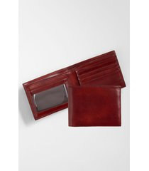 men's bosca id flap leather wallet - brown