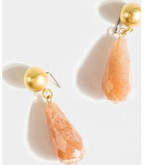 mellie semi precious stone drop earrings - pale pink
