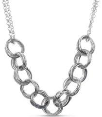 kensie silver-tone interlocking circle necklace