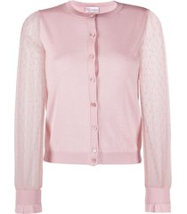 redvalentino point d'esprit tulle cardigan - pink