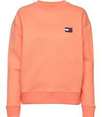 tjw tommy badge crew sweat-shirt trui oranje tommy jeans