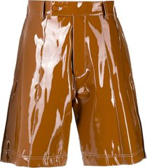 gcds brown vinyl bermuda shorts