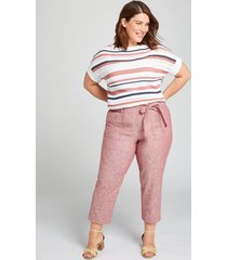 lane bryant women's pull-on belted soft crop pant 26/28p sun-dried tomato