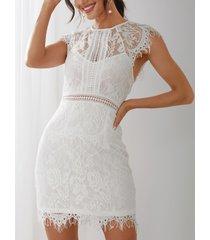 bateau de encaje blanco para damas de cintura alta vestido