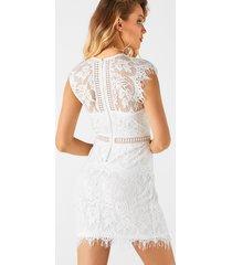 bateau de encaje blanco de cintura alta para mujer vestido