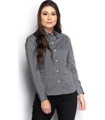 camisa camisete feminina maquinetada manga longa casual - feminino