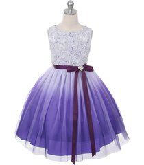 purple ombre flower girl dresses bridesmaid birthday wedding pageant party dance