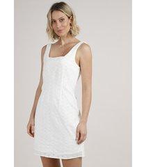 vestido feminino curto em laise alça larga + elástico de cabelo scrunchie off white