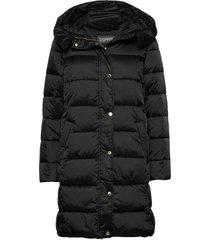 coats woven gevoerde lange jas zwart esprit collection