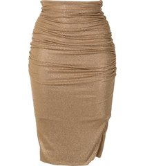 alexandre vauthier crystal ruched pencil skirt - brown