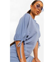 batwing tie cuff shift dress, cornflower blue