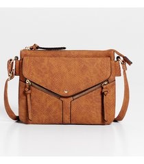 maurices womens brown snakeskin zipper crossbody bag
