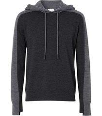black and grey wool hoodie