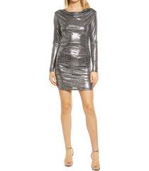 women's 4th & reckless kenny metallic long sleeve body-con dress, size x-large - metallic