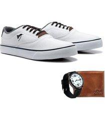 sapatênis polo north masculino + relógio + carteira casual - masculino