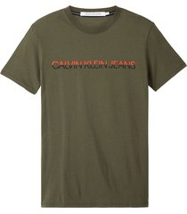 camiseta de algodón orgánico con logo verde calvin klein