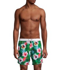 boss hugo boss men's floral drawstring swim shorts - green - size xxl