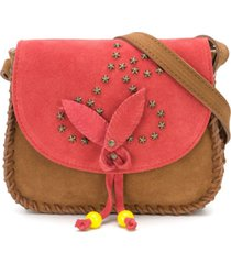bonpoint bolsa tiracolo com detalhe de tachas - marrom