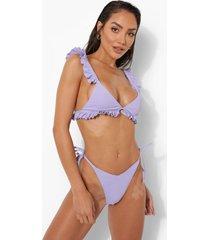 bikini broekje met textuur en zijstrikjes, lilac