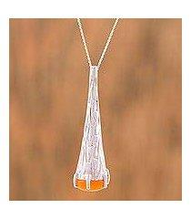 agate pendant necklace, 'orange snow cone' (mexico)