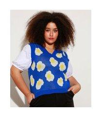 colete de tricô estampado ovos fritos plus size decote v mindset azul royal