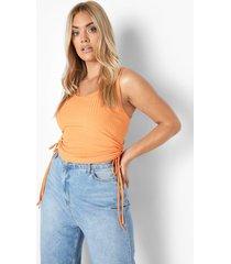 plus gerecycled geribbeld geplooid hemd, orange