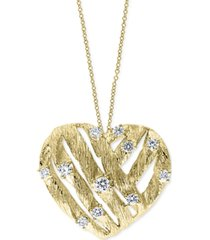 """effy diamond textured heart 18"""" pendant necklace (3/8 ct. t.w.) in 14k gold"""
