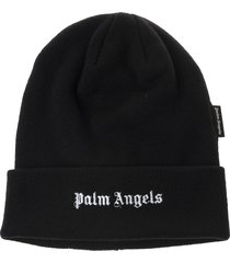 man black wool hat with embroidered logo