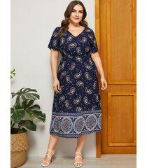 yoins plus talla azul marino paisley escote en v manga corta vestido