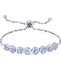diamond accent lab tanzanite round halo adjustable fine silver plate bracelet